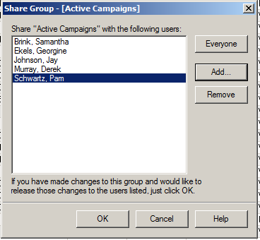 The Share Group Dialogue Box will show all the users the group has currently been shared with.