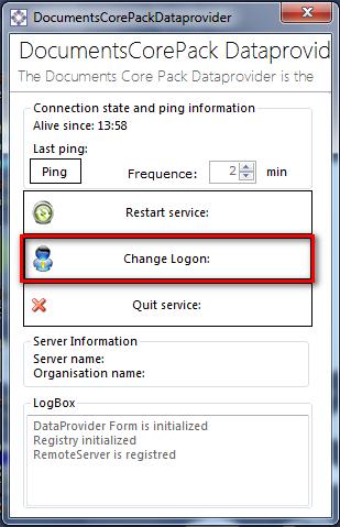 Select Change Logon in the DocumentsCorePack Dataprovider area