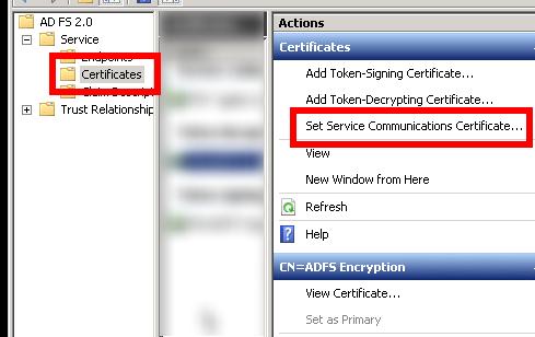 ADFS Certificate