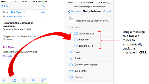 Drag email to a tracked folder
