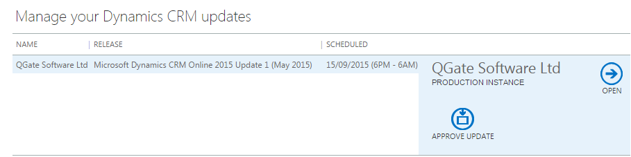 CRM Online - Pending Updates