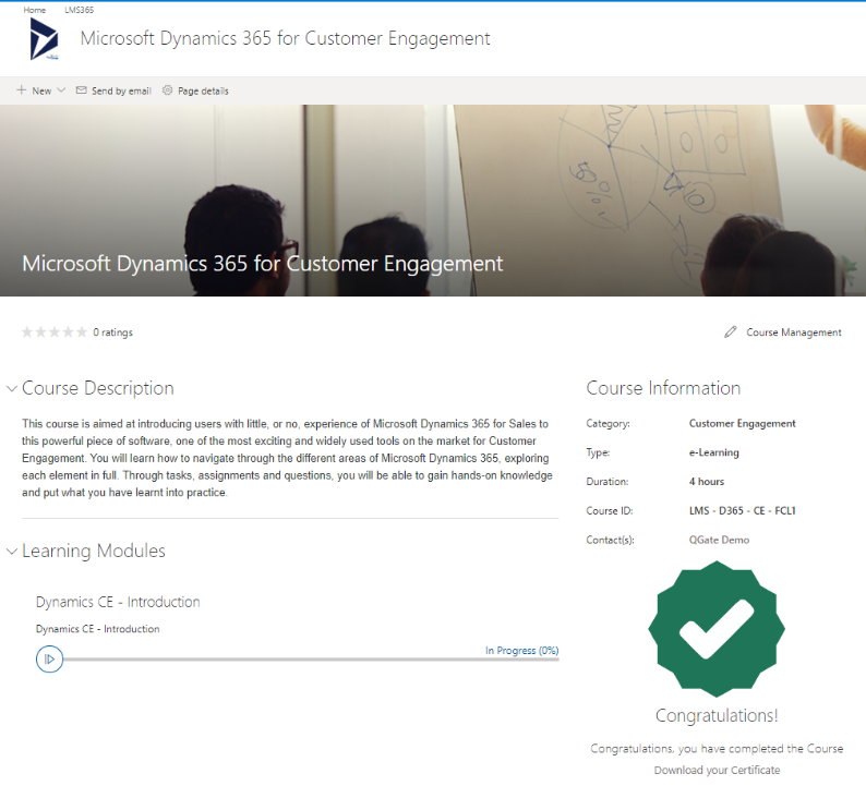 Learning Management System (LMS) dashboard