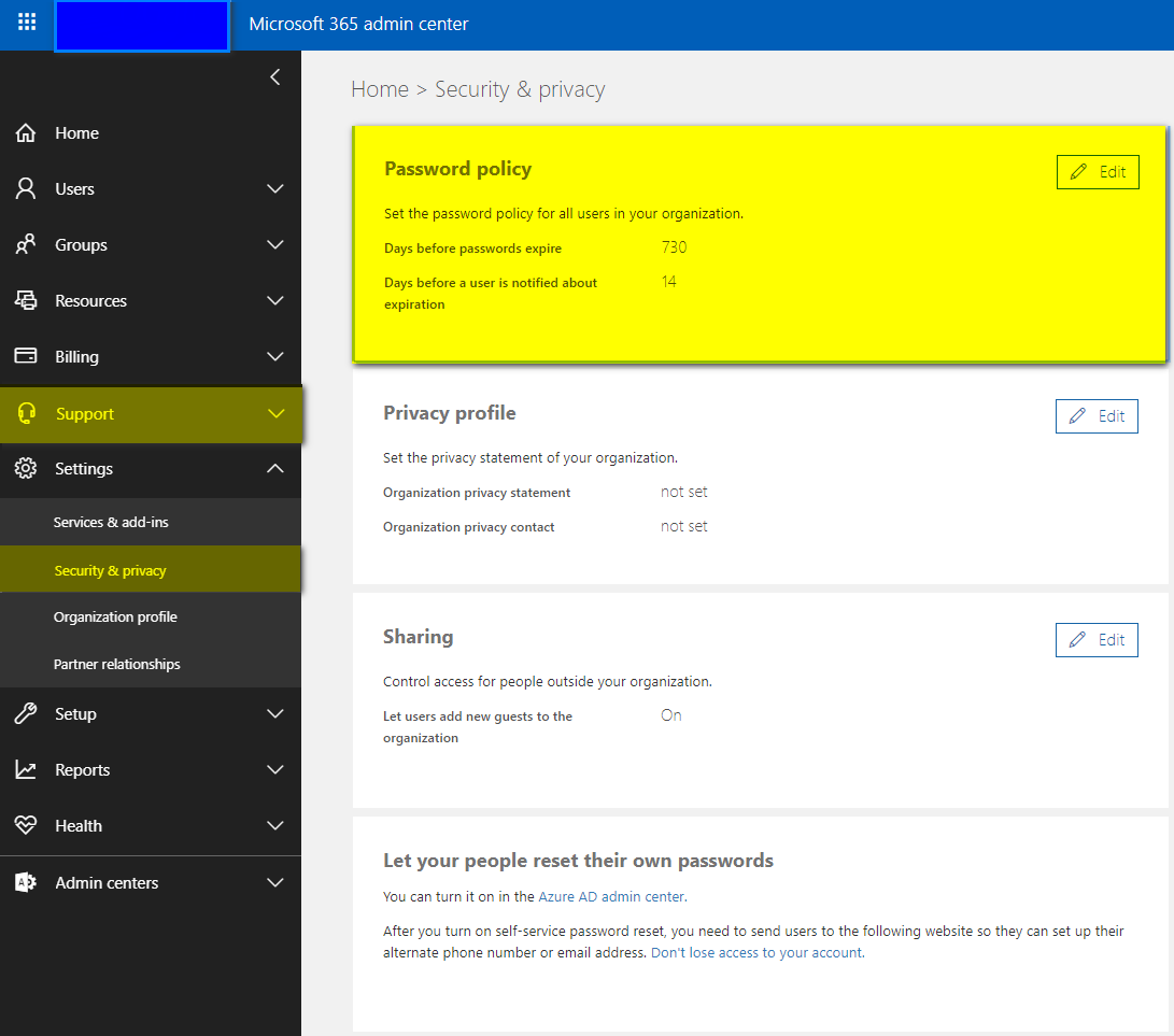 Control Office 365 Users' password policies - Step 1