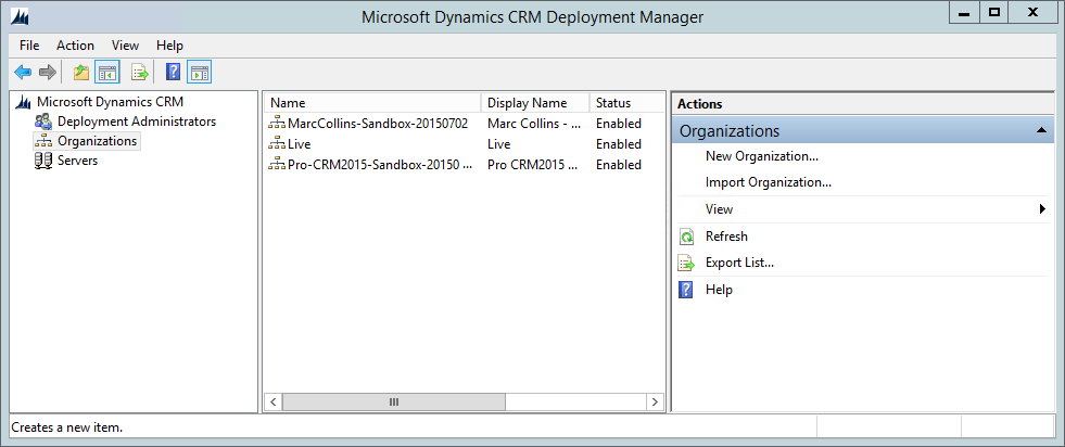 CRM Organisation List