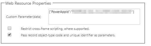Adding PowerApps to Dynamics 365 - Web Resource Properties