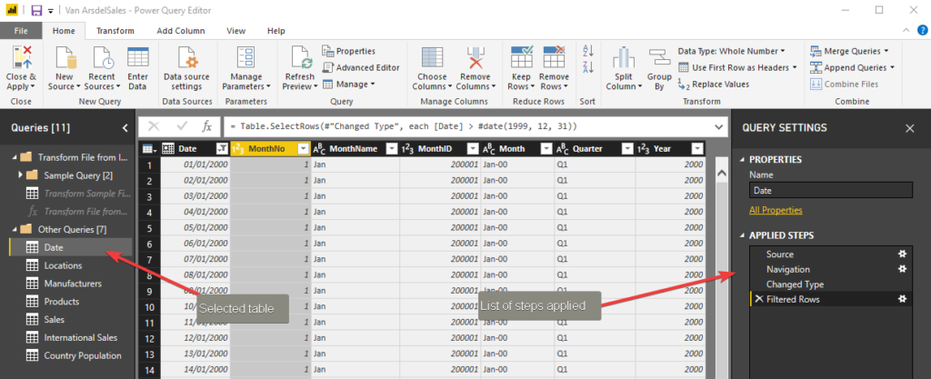 Power BI Basics: Getting Started with Power BI - Data Transformation Actions