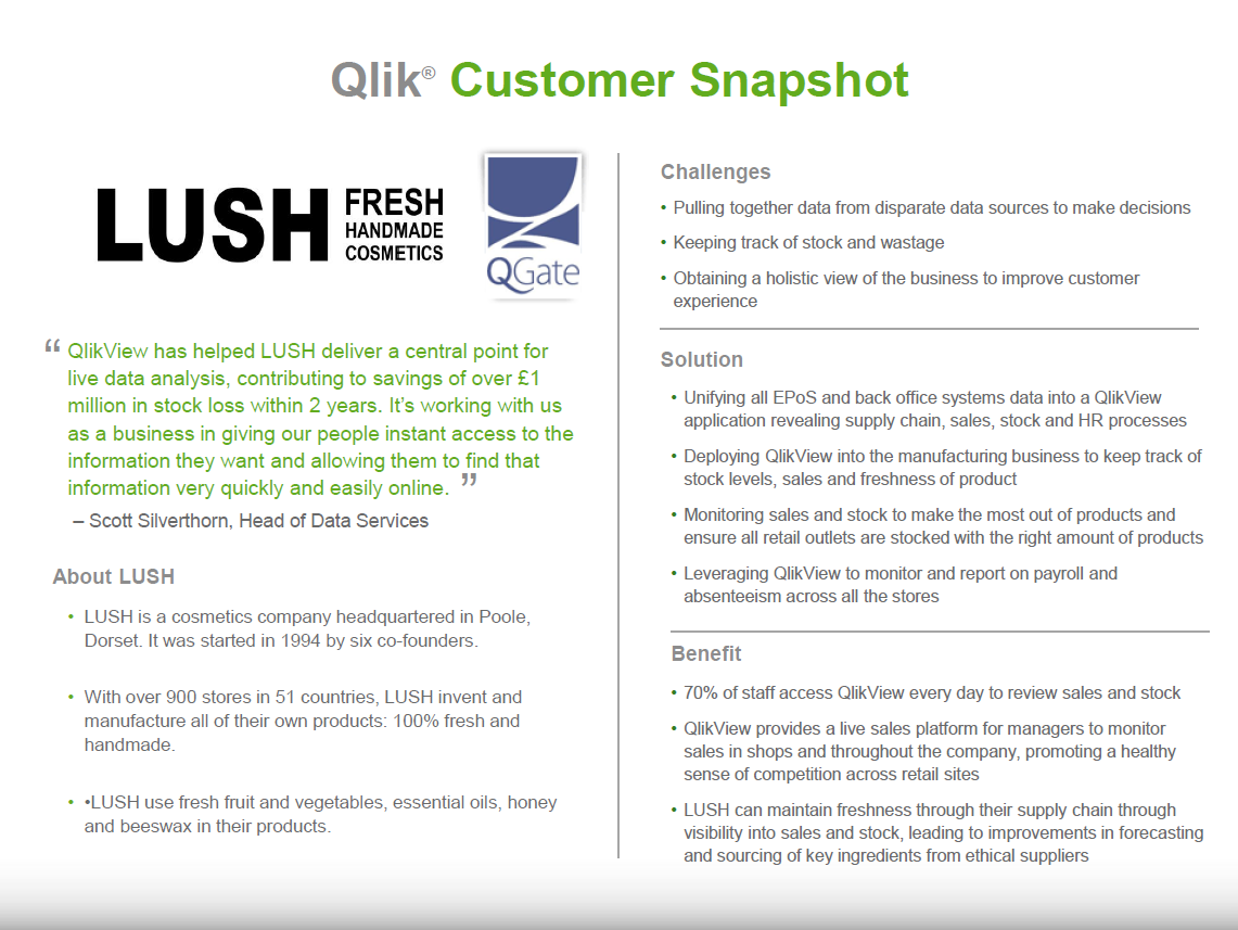 LUSH Cosmetics make headlines with their Business Intelligence Solution, Qlik,  from QGate