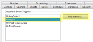 QlikView Default Selections Triggers