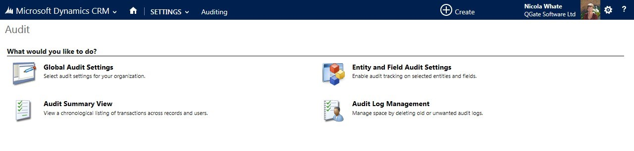 Select the Audit Summary View from the Options Presented in the Settings in Microsoft Dynamics CRM