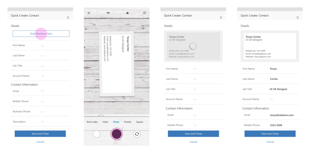 Dynamics 365 Wave 2 - Business Card Scan
