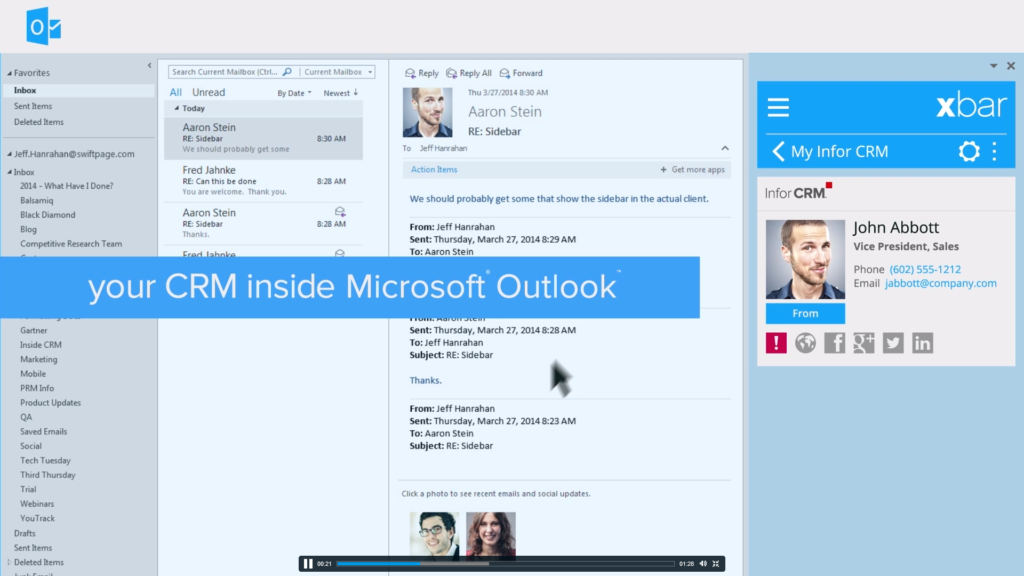 Infor CRM Xbar Your CRM inside Microsoft Outlook