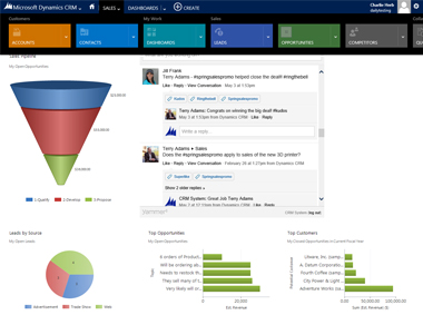 The New Flat Interface of Microsoft Dynamics CRM is streamlined and centraliszed.