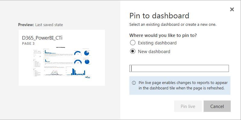 Power BI Pin to Dashboard