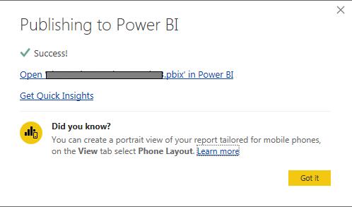 Power BI Publishing