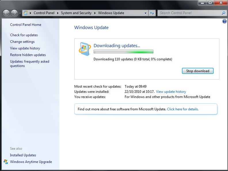 Run Microsoft Windows Update to make sure that the latest updates have been applied.